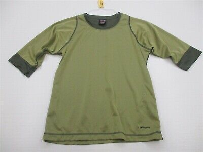 PATAGONIA Shirt Women's Size S Active CAPILENE Hiking Short Sleeve Green Crew