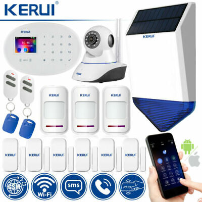 KERUI W20 GSM WiFi SMS RFID Home Security Alarm System Solar Siren IP Camera Kit