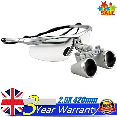 Silver Dental Loupes 2.5X 420mm Surgical Binocular Optical Glasses Magnify Equip