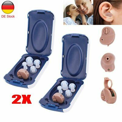2PCS Digital In-Ear Hörgerät Einstellbare Sound Amplifier Pocket Hearing Aid DE