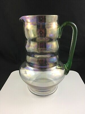 "🔷 Dunbar Glass 9 1/2"" Pitcher No. 5024 Iridescent w/ Stretch Glass Handle 1920s"