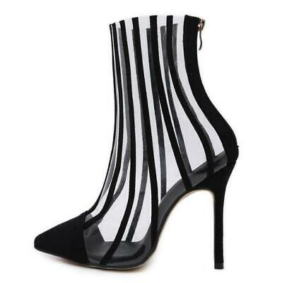 Womens Transparent High Stiletto Heel Pointy Toe Party Stripes Shoes Ankle Boots