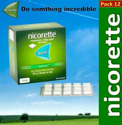 Nicorette Gum Freshmint 2mg of 210 pieces New Stock Feb-2022   Pack 12
