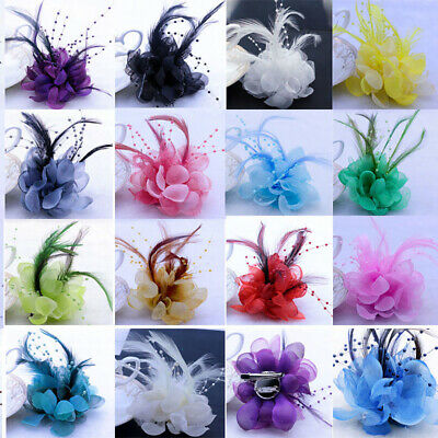Flower Fascinator Feather Pearl Corsage Hair Clip Wedding Party Brooch Hairpin L
