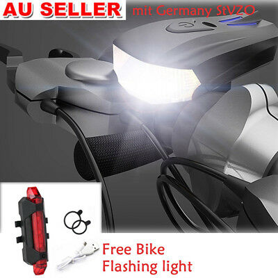 LED Bike Bicycle Lights Set Mountain Cycle Front Back Headlight USB Rechargeable