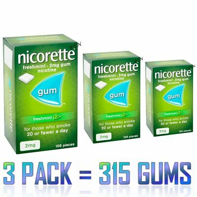 Nicorette Gum Freshmint 2mg 105 pieces PACK OF 3  Expiry 10/2021