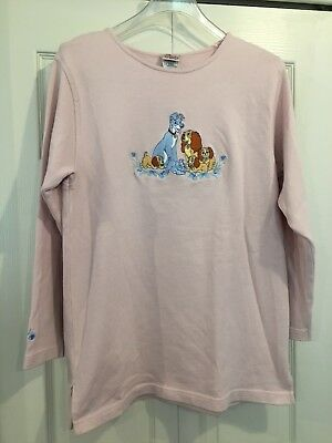 2f628905 Disney Store LADY and the TRAMP Embroidered PINK SWEATER VINTAGE RARE SIZE  M EUC