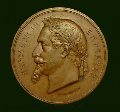 """Medal France, Napoleon III, Paris exhibition, 1867 XF, """"Chmelewsky"""", copper,50mm"""