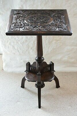 19th Century Carved Oak Tilt Top Side Table with Stylised Dragons,Tilt Top Table