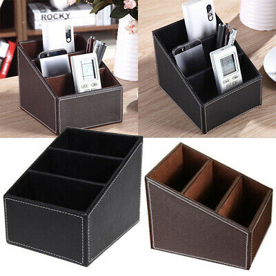Modern Faux Leather Desk Organizer Tidy Pen Remote Control