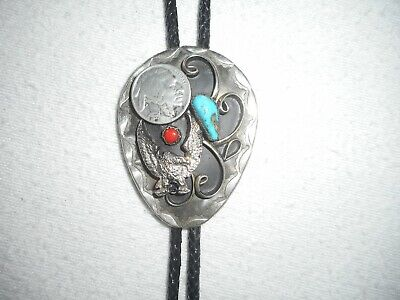 vintage BOLO Neck-tie w/turquoise, coral, buffalo nickle & american eagle LARGE