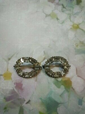 Vintage Crystal Pair Of Oval Dress Clips