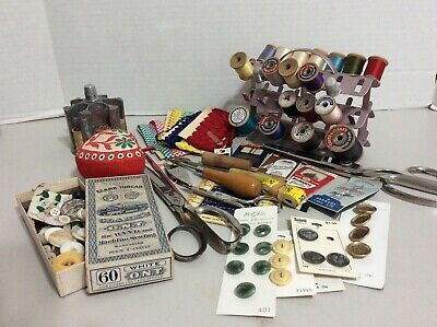 Vintage Sewing Notions Drawer Full Thread Buttons Needles Scissors Trim Thimbles
