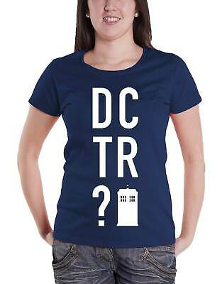 Dr Who T Shirt DCTR? tardis Logo Official Womens New Navy Skinny Fit