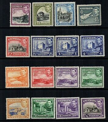 Cyprus - 1938/51 KGVI Definitives to 18pi (16 Stamps) - SG 151 to 160 - FM
