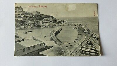 Postcard Newquay, The Harbour. Posted Early 1900s. Horse drawn Rail Vehicle.