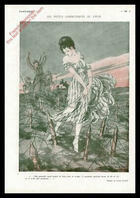 1916 ORIGINAL FRENCH WW1 PRINT Lady in Danger / French Soldier LOUIS ICART F1012
