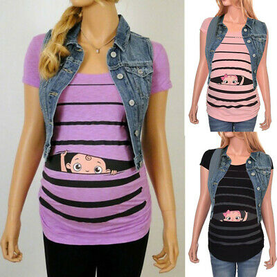 UK Maternity Cute Funny Baby Striped Short T-shirt Pregnant Tops UK10-20 QE
