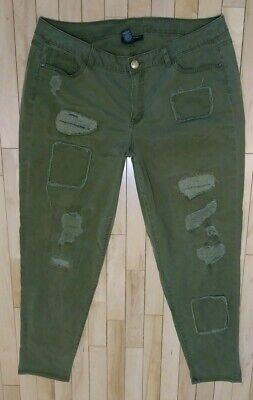 6c1d395d8c1e9 LANE BRYANT OLIVE Green Destructed Patched Womens Skinny Pants Size ...