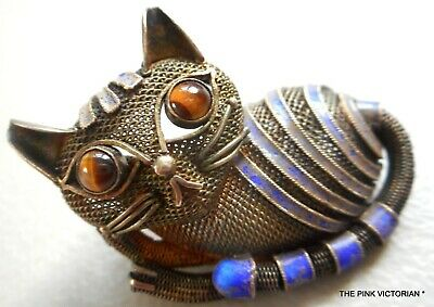 Vintage Chinese Export Silver Mesh Cat Feline Figural Pin Brooch Tiger's Eye
