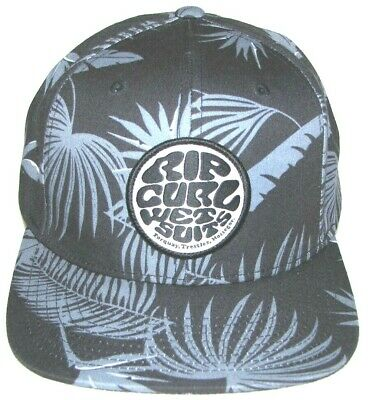 ecdb0128 Vintage Rip Curl Wet Suits Hat Floral Palm Print Black Gray White Snap Back