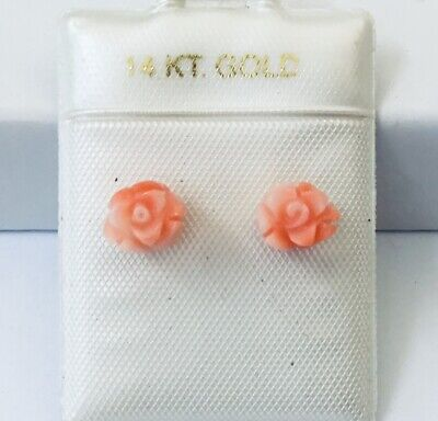 NEW 14K Yellow Gold Genuine Pink Coral Hand Carved Rose Stud Earrings