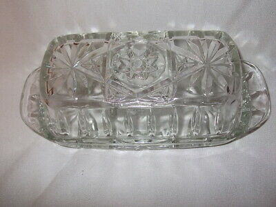 Vtg Anchor Hocking Covered Butter Dish Star Of David Clear Glass Excellent