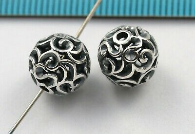 1x BALI OXIDIZED STERLING SILVER FLOWER FOCAL ROUND SPACER BEAD 10mm #3127