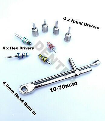 Dental Implant Torque Wrench Ratchet 10-70Ncm with 8 Hand & Hex Driver Screws