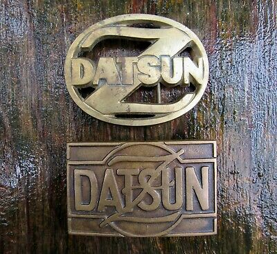Lot 2 diff DATSUN Z Belt Buckles 1978 Baron CAR Badge Bronze UB Brass RARE VG+