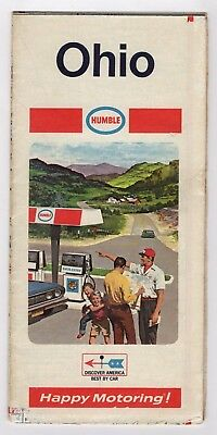 Vintage 1969 HUMBLE GAS OHIO Road Map Travel Brochure