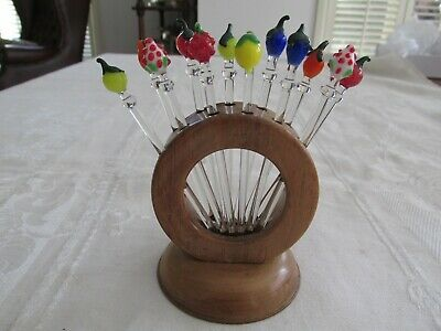 Set Vintage Glass Fruit Cocktail Picks Swizzle or Stir Sticks with Stand Germany