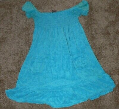 a6cc3dfde667c Juicy Couture Blue Terry Cloth Dress Summer Swim Cover Up Womens Size L ek