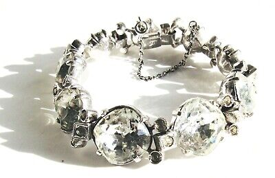 Stunning Antique Art Deco/Nouveau Large Crystal Sterling Marked Bracelet