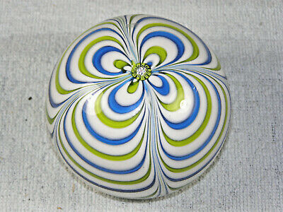 Saint Louis 1971 Blue & Green Pulled Glass Paperweight - Date & Sig. Cane