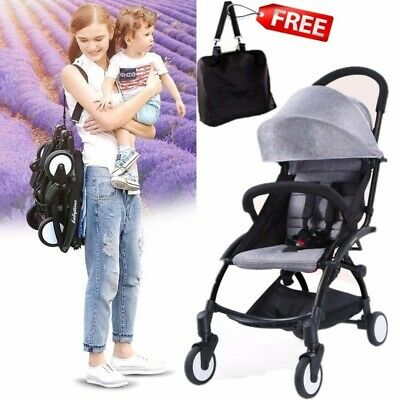 2019 Grey Compact Lightweight Baby Stroller Pram Easy Fold Travel Carry on Plane