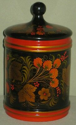 RUSSIAN LACQUERED ROUND CANNISTER w/COVER LID w/FINIAL BLACK RED w/GOLD