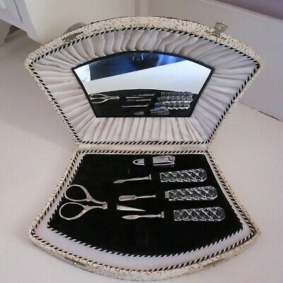 Vintage part manicure set with cut crystal tools