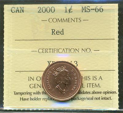 2000 Canada One Cent ICCS Certified MS-66