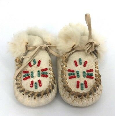 VTG Antique Childrens Baby Beaded Hide LeatherBaby Moccasins Leather Beaded (H5)