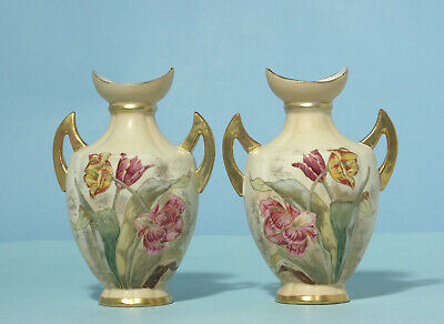 Antique Matching Pair Bohemian Butterflies and Flowers Vases