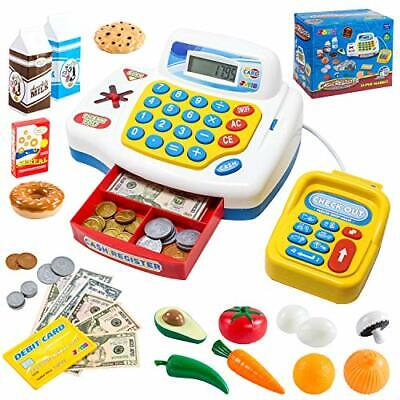 Pretend Play Cash Register Assorted Red Play Set Kids Shop Toy Solar