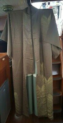 Fab Brown & Gold With Sparkly Patterned Silk Vintage Japanese Full Length Kimono