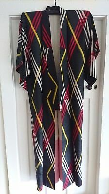 Fab Black With Red, Yellow & White Lined Vintage Japanese Full Length Kimono