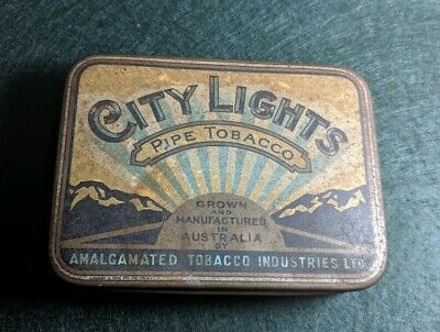 Collectable Vintage City Lights Pipe Tobacco Tin Melbourne Australia