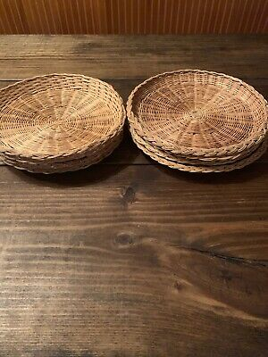 Wicker Rattan Woven Paper Plate Holders Lot Of 8 Picnic BBQ Camping Tiki