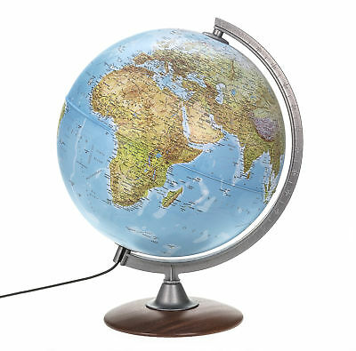 Double Image Globe with Wooden Base 30cm with LED Lamp Map Image 2018