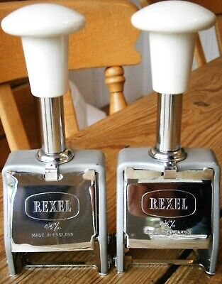Pair Of Stunning Vintage Rexel Numbering Machines Stamps Sequential Numbering