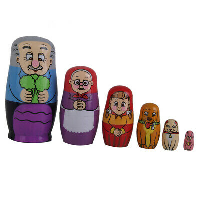 6 pcs Hand Painted Wooden Happy Family Nesting Stacking Russian Dolls 15cm