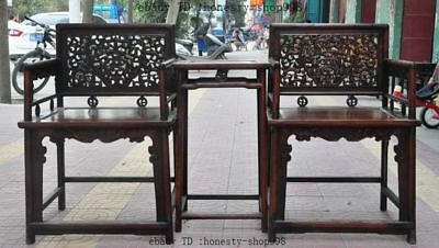 "36""Collect China furniture Huanghuali wood Carved Dragon Beast Tables Chair set"